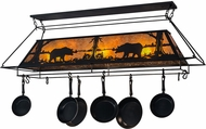 Meyda Tiffany 172029 Bear at Lake Rustic Black / Amber Mica Pot Rack