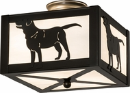 Meyda Tiffany 172790 Labrador Retriever Timeless Bronze Flush Mount Lighting