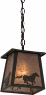 Meyda Tiffany 172895 Running Horse Timeless Bronze / Silver Mica Mini Hanging Pendant Light