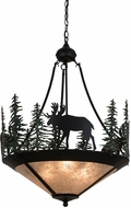 Meyda Tiffany 173130 Wandering Moose Rustic Black / Green Trees / Silver Mica Ceiling Light Pendant