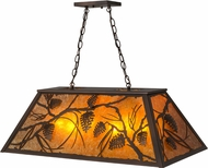 Meyda Tiffany 173949 Whispering Pines Country Mahogany Bronze / Amber Mica Island Lighting