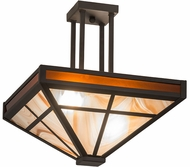 Meyda Tiffany 174094  T  Mission Tiffany Oil Rubbed Bronze Flush Mount Ceiling Light Fixture