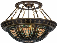 Meyda Tiffany 174323 Fleur-de-lis Tiffany Green / Blue Overhead Lighting Fixture