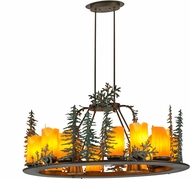 Meyda Tiffany 174864 Tall Pines Rustic Antique Copper Green Trees & Cedar Leaves Island Lighting