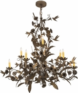 Meyda Tiffany 174872 Le Printemps Country Antique Brass Matte Chandelier Light