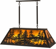 Meyda Tiffany 175341 Tall Pines Wrought Iron / Amber Mica Kitchen Island Lighting