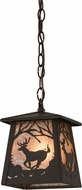 Meyda Tiffany 175657 Deer at Dawn Country Oil Rubbed Bronze / Silver Mica Mini Pendant Lamp