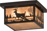 Meyda Tiffany 175668 Hyde Park Deer Creek Rustic Silver Mica / Craftsman Exterior Flush Lighting