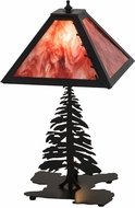 Meyda Tiffany 175751 Leafs Edge Tall Pines Country Textured Black Table Lamp