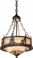 Meyda Tiffany 175906 Tall Pines Country Oil Rubbed Bronze / Silver Mica Pendant Hanging Light