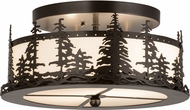 Meyda Tiffany 176888 Tall Pines Rustic Oil Rubbed Bronze White Acrylic Flush Mount Light Fixture