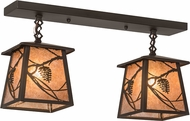 Meyda Tiffany 177216 Whispering Pines Oil Rubbed Bronze / Silver Mica Multi Lighting Pendant
