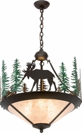 Meyda Tiffany 177721 Wandering Moose Country Oil Rubbed Bronze / Silver Mica Drop Lighting