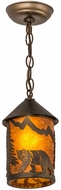 Meyda Tiffany 178054 Northwoods Lone Bear Rustic Antique Copper / Amber Mica Mini Drop Ceiling Lighting