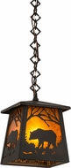 Meyda Tiffany 178383 Bear at Dawn Wrought Iron / Amber Mica Mini Pendant Lighting