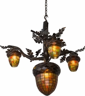 Meyda Tiffany 180444 Acorn Branch Rustic Dark Burnished Antique Copper Chandelier Light