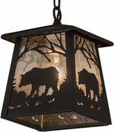 Meyda Tiffany 180674 Bear at Dawn Old Wrought Iron Mini Pendant Light