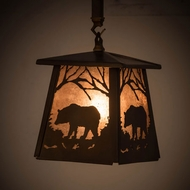 Meyda Tiffany 182073 Bear at Dawn Antique Copper / Silver Mica Mini Hanging Light Fixture