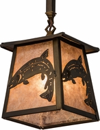 Meyda Tiffany 182077 Leaping Trout Antique Copper / Silver Mica Interior / Exterior Mini Drop Ceiling Lighting