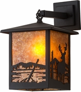 Meyda Tiffany 183603 Seneca Deer Creek Black / Amber Mica Wall Lighting Sconce