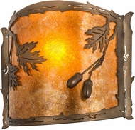 Meyda Tiffany 184030 Oak Leaf & Acorn Antique Copper Amber Mica Silver Mica Wall Sconce Lighting
