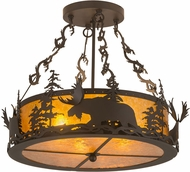 Meyda Tiffany 184160 Moose at Dusk Rustic Oil Rubbed Bronze / Amber Mica Drum Hanging Pendant Lighting