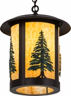 Meyda Tiffany 184304 Fulton Tall Pines Country Beige Craftsman Brown Green Trees Hanging Pendant Lighting
