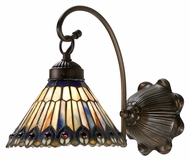 Meyda Tiffany 18525 Tiffany Jeweled Peacock Tiffany Mahogany Bronze Finish 8  Wide Lighting Sconce