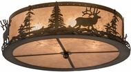 Meyda Tiffany 185968 Elk at Dusk Antique Copper / Silver Mica Ceiling Lighting Fixture