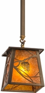 Meyda Tiffany 187586 Whispering Pines Antique Copper / Amber Mica Mini Ceiling Pendant Light