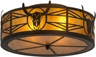 Meyda Tiffany 20867 Steer Skull Country Antique Copper / Amber Mica Ceiling Light