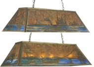 Meyda Tiffany 23752 Trout & Fisherman Country Amber Mica Kitchen Island Light Fixture