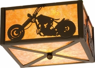 Meyda Tiffany 23987 Motorcycle Timeless Bronze / Amber Mica Overhead Lighting