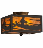 Meyda Tiffany 23991 Canoe At Lake Timeless Bronze/Amber Mica Ceiling Light Fixture