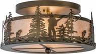 Meyda Tiffany 24468 Fly Fishing Creek Country Antique Copper / Silver Mica Ceiling Light