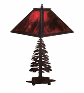 Meyda Tiffany 26724 Tall Pines Country Black Finish 11  Wide Table Lamp
