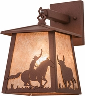 Meyda Tiffany 26995 Cowboy & Steer Rust / Silver Mica Lighting Sconce