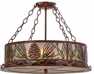 Meyda Tiffany 29393 Mountain Pine Rustic Rust / Green Needles / Silver Mica Flush Mount Lighting Fixture
