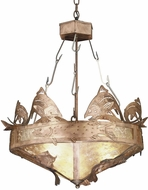 Meyda Tiffany 32124 Catch of the Day Trout Rustic Antique Copper / Silver Mica Drop Ceiling Lighting