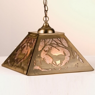 Meyda Tiffany 38690 Deer at Dawn Rustic Antique Copper / Silver Mica Drop Ceiling Light Fixture