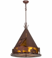Meyda Tiffany 50109 Teepee W/Buffalo Rust/Amber Mica Pendant Lighting Fixture