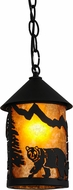 Meyda Tiffany 51061 Northwoods Lone Bear Rustic Black / Amber Mica Mini Pendant Hanging Light