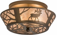 Meyda Tiffany 51495 Elk on the Loose Rustic Silver Mica Flush Mount Lighting