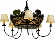 Meyda Tiffany 65134 Bear on the Loose Rustic Cafe Noir / Silver Mica Hanging Chandelier