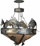 Meyda Tiffany 65150 Catch of the Day Trout Country Steel / Silver Mica Ceiling Light Pendant
