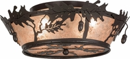 Meyda Tiffany 68932 Oak Leaf & Acorn Rustic Timeless Bronze / Silver Mica Ceiling Light Fixture