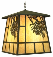 Meyda Tiffany 70142 Stillwater Winter Pine Timeless Bronze Finish 30  Wide Outdoor Pendant Light Fixture