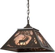 Meyda Tiffany 73915 Elk at Dawn Country Timeless Bronze / Silver Mica Pendant Light Fixture