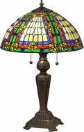 Meyda Tiffany 81097 Fleur-de-lis Tiffany Beige Ia Red Lt Blue Green Blue Table Light