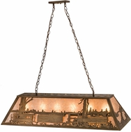 Meyda Tiffany 81347 Train Country Antique Copper / Silver Mica Kitchen Island Light Fixture